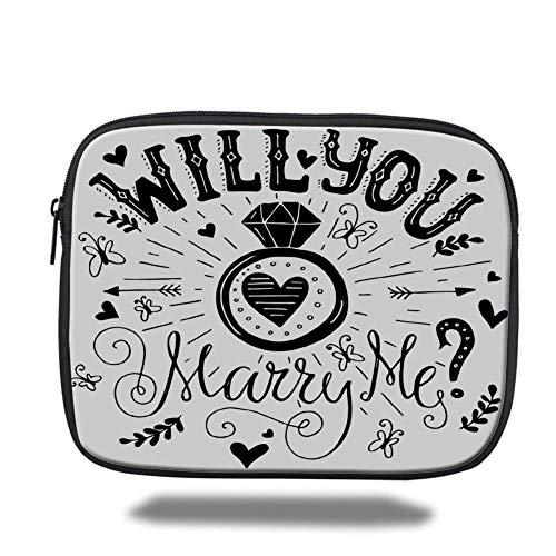 Laptop Sleeve Case,Engagement Party Decorations,Western Themed Will You Marry Me Quote with Hearts Image,Black and White,Tablet Bag for Ipad air 2/3/4/mini 9.7 inch