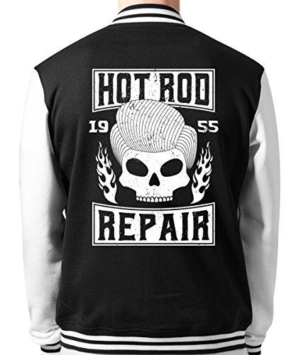y Hot Rod Repair - Unisex College Jacke Schwarz, Größe S ()