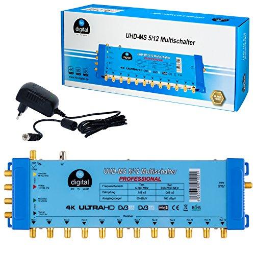 Multischalter pmse 5/12 HB-DIGITAL 1x SAT bis 12 x Teilnehmer / Receiver für Full HDTV 3D 4K UHD mit Netzteil