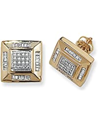 9ct Yellow Gold 0.53ct Diamond Square Stud Earrings