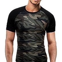 OverDose Camiseta para Hombre Camuflaje Militar O-Cuello de Manga Corta Camiseta