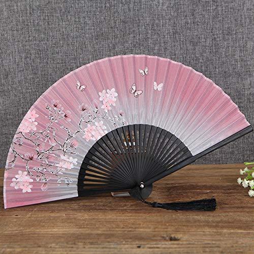 XIAOHAIZI Faltfächer Geschenk Frauen Klapp Fan Sommer Japanische Kirsche Fan Fan Antike Wind Fan Seidentuch Fan Licht Pulver