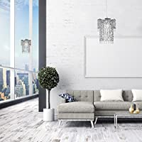 Pair of - Modern Sparkling Chrome Acrylic Crystal Jewel Bead Effect Ceiling Pendant Light Shades from MiniSun