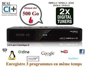 Terminal Numérique Double Tuner Satellite Enregistreur avec disque dur interne de 500 Go Xeobox HDX 8200