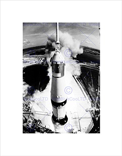 SPACE ROCKET LAUNCH SATURN V APOLLO 11 VIEW THRUST BLAST LIFT OFF PRINT B12X7766 (Poster Apollo 11)