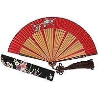 Mano plegable Ventilador de refrigeración–Wise diseño de pájaro Fxxx (2017) japonés chino de mano ventilador de seda Breeze bolsillo para mujer, al aire libre boda fiesta decoración con bolsa de seda y bordado. Regalos para las mujeres