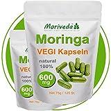 Moringa 250 Oleifera VEGI Kapseln hochdosiert 600mg - 100% Vegane ÖKO Rohkost (2x125)