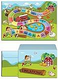 12 Einladungskarten zum Kindergeburtstag Bauernhof-Party incl. 12 Umschläge / Schatzsuche / Outdoor / Einladungen zum Geburtstag für Mädchen und Jungen (12 Karten + 12 Umschläge)