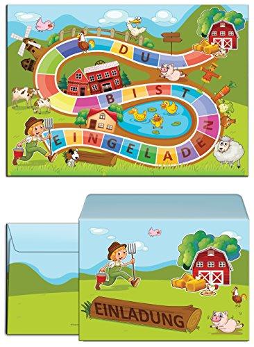 8 Einladungskarten zum Kindergeburtstag Bauernhof-Party incl. 8 Umschläge / Schatzsuche / Outdoor / Einladungen zum Geburtstag für Mädchen und Jungen (8 Karten + 8 Umschläge)