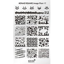 Original Konad square image Pochoir Plate 17Nail Art clair araignée Halloween Esprit chauve-souris