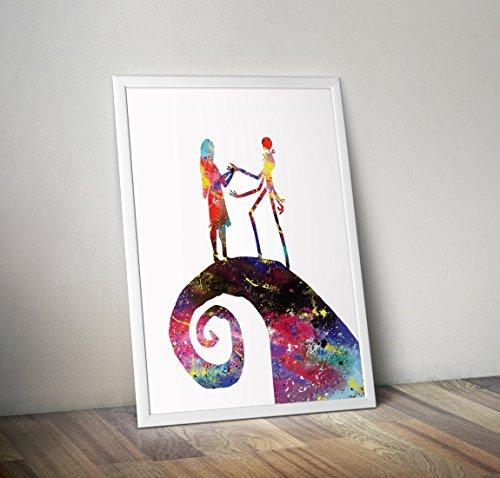 Alptraum vor Weihnachten inspirierte Poster - Jack Skellington Aquarell Print - Alternative TV/Movie Prints in verschiedenen Größen (Rahmen nicht im Lieferumfang enthalten)