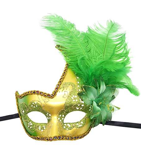 Feder Maskerade Masken Halloween Mardi Gras Cosplay Kostüme Venezianischen Party Masken (Grün)