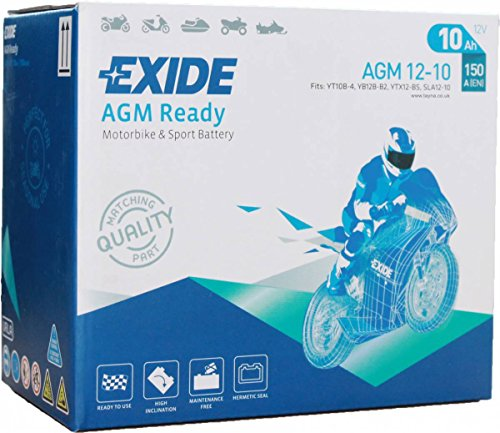 EXIDE Bike Motorrad Roller Batterie AGM12-10 - 12V - 10Ah - 150A EN - 150mm*87mm*130mm - M0 POL - Ersatzbar durch YT10B-4 ; YB12B-B2 ; YTX12-BS ; SLA12-10