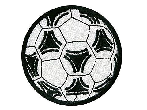 FUSSBALL - schwarz/weiss - Aufnäher Aufbügler Applikation Patch - ca. 7,5cm Durchmesser