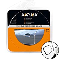 Ampulla 5m/ 16 ft Car Door Edge Guards For Most Sedans and SUV, Durable and Cleanly Removable Built in Adhesive and 3M Adhesive Tape Tool Free Installation 16ft/5m (Jet Black)