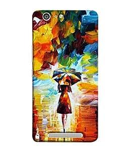 PrintVisa Designer Back Case Cover for Gionee Marathon M5 (Drawing Umbrella Wallpaper Background Cubes)