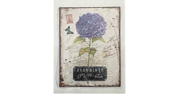 Nostalgie Blechschild Hortensie Garten Blumen Vintage Shabby Florist Dekoschild