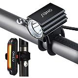 ONEU Set de Éclairage Vélo, Étanche IPX7 Rechargeable Ultra Lumineux Cree XM-L2 LED 1800 Lm 3 Modes Lumière de Vélo, Phare Lampe Avant et Feu Arrière pour Cyclisme Vélo MTB VTT