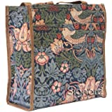 :Signare Womens Fashion Tapestry Shopper Bag Shoulder Bag in Strawberry Thief Blue Inspired by William Morris