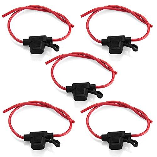 CARCHET® 5pcs Support Porte Fusible Lame Enfichable Etanche avec Fil Câble Max. 32V/30A pour Camion Voiture