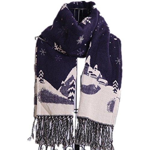 Preisvergleich Produktbild Viskey Mädchen Funktionsjacke Fashion Damen Schal, Weich, Hirsch Snowflak blue