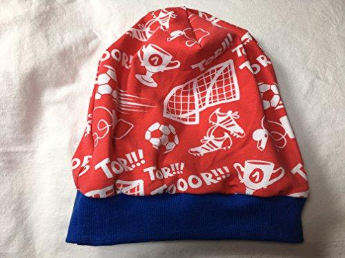 Fußball-elasthan-hut (Beanie Mütze Fußball, rot/weiß, mit blauem oder schwarzem Bündchen, auch gefüttert)