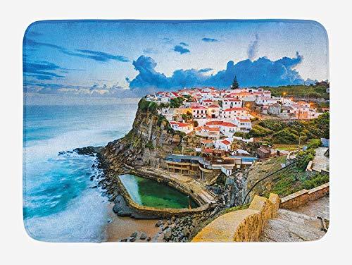 tgyew Mediterranean Bath Mat, Portuguese Town Coast Azenhas do Mar Beach by Cliffs Village Shore Theme, Plush Bathroom Decor Mat with Non Slip Backing, 23.6 W X 15.7 W Inches, Multicolor