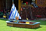 dobar 94600FSC - Sandkasten Schiff aus Holz groß, Rumpf, Sandkiste Boot für Kinder XXL XL Outdoor, 180 x 96 x 125 cm, FSC-Holz, weiß/blau -