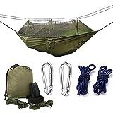 Extérieur Camping Moustiquaire Hamac, Hamac lit de voyage léger Hamac parachute Double en tissu pour l'intérieur, camping, randonnée, Randonnée, jardin, Vert militaire
