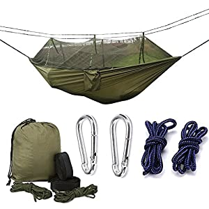 camping hammock,mosquito net outdoor hammock travel bed lightweight parachute fabric double hammock for indoor, camping, hiking, backpacking, backyard