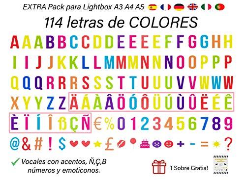 Pack 114 Letras Decorativas VARIOS COLORES Cajas Luz