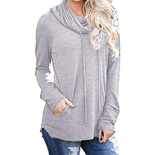ESAILQ Womens Long Sleeve Cowl Neck Casual Sweatshirt Tops with Pockets White Cardigan Sweater Womens Clothing 90s Clothing for Women Clothes for Women Clothing for Women Womens Clothes