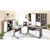 Komplett Büromöbel Set ● Korpus Trüffel Eiche - Fronten Glanz weiß ● höhenverstellbare C-Fuß Schreibtische ● Rollcontainer Aktenschränke Aktenregale