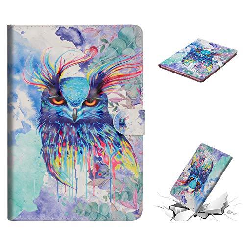 KANTAS Hülle für iPad Air 2, Stoßfest Leder Aquarell Eule Design Flip Case mit Auto Sleep/Wake up Funktion Ständer und Weiche Silikon Stoßdämpfer für Apple iPad Air 2