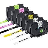 6x TZe Schriftband 12mm Kompatible mit Brother P-touch PT-H100LB Schriftband TZe-MQP35 TZe-MQG35 TZe335 TZe 131 231 631, schwarz auf weiß/transparent/gelb, weiß auf matt-pink/matt-apfelgrün/schwarz