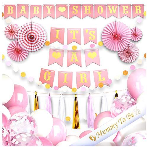 It's a girl dekoration Babyparty Mädchen deko Set- 40 Stk. baby shower Pullerparty deko – Its a girl Girlande, Luftballons, Rosetten, Quasten, mummy to be Schärpe – eine unvergesslichste Babyparty!