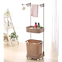 Cucina dual-use multi-funzionale carrello/ cestino di immagazzinaggio di vestiti sporchi/Salviette/ appendere un cesto di (Antico Brown Parete Specchio)