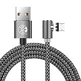 Magnetisches Micro USB Kabel, 3 Packs 1M 2M 3M L-förmig/90 Grad Ladekabel für Samsung S4 S6 S7 Edge, Hinweis 3/4/5, Tab S2, LG G4, Sony und Mehr Android Micro USB Geräte (Grau)