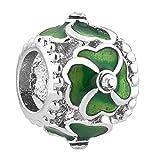 Uniqueen, ciondolo della fortuna con quadrifoglio per braccialetti Pandora