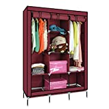 Wardrobe - Portable Non-woven Canvas Fabric Wardrobe With Triple Doors Clothes Closet Storage Organizer Folding Wardrobe With Shelves Cupboard Almirah Foldable Storage Rack Collapsible Cabinet By KARP - Wine Red Color