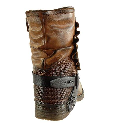 cavalier effet tréssé Talon Bottine Chaussure bloc Mode 2 motard Camel femme Intérieur 5 clouté lanière CM vieilli Angkorly Fourrée 8XIA1qxw8