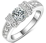 18K Vergoldet Ringe, Damen Band Hochzeit Bilateral Zirkonia Gr??e 57 (18.1) Wei? Gold Epinki