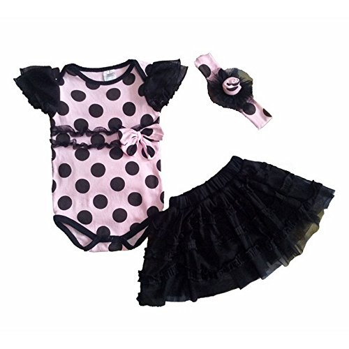 Wave Knit Kleid (3 tlg. Baby Set Kinder Kleid ohne Ärmel Wave-Knit Romper mit Stirnband und Rock für das Baby 7-9 Monate)