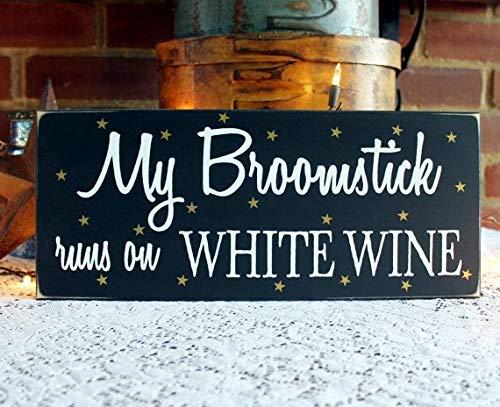 Monsety My Broomstick Runs On Wine Red or White Hexe Halloween Decor 15,2 x 35,6 cm Holzschild Basteln für Wohnzimmer Deko