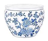 Aricola Blumentopf/Übertopf aus Porzellan ca. Ø 40,5cm in blau/weiß, Blumenmuster, Original