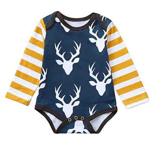 Saihui Baby Playsuit Outfits, Infant Boys Girls Rompers 6-24 Months Baby Jumpsuit Clothes Newborn Romper Kids Deer Print Playsuits Toddlers Long Sleeve Outfits