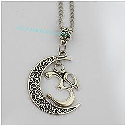 Colgante Cresent Luna Yoga Jewelry–Collar de plata Om