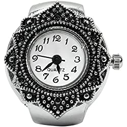 Flower Dial Pocket Quartz Finger Ring Watches Stylish