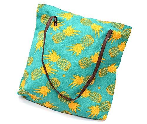 ATB01 - Tote Bag Sac Fourre-Tout Epaule Tissu Imprimé Ananas Jaune/Vert