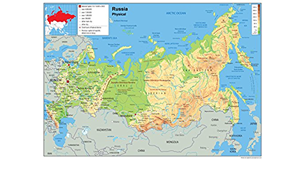 Cartina Fisica E Politica Della Russia.Tiger Moon Russia Planisfero Fisico Carta Plastificata Ga Amazon It Giardino E Giardinaggio